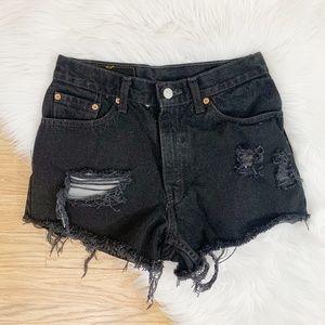 Vtg Levi's Black Cutoff Jean Shorts Size 24/25 {H}